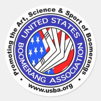 Estados Unidos Boomerang la asociación sticker3 Pegatina Redonda