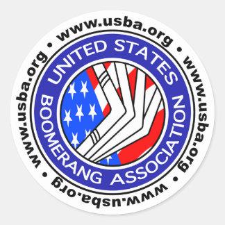 Estados Unidos Boomerang la asociación sticker4 Pegatina Redonda