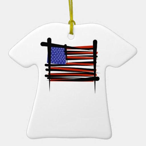 Estados Unidos cepillan la bandera Adorno Navideño De Cerámica En Forma De Playera