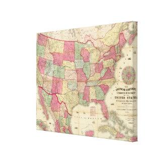 Estados Unidos continentes americanos Impresión En Lienzo