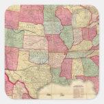 Estados Unidos continentes americanos Calcomania Cuadradas