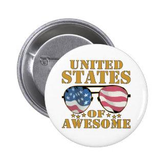 Estados Unidos de impresionante Pin Redondo De 2 Pulgadas