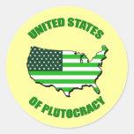 Estados Unidos de la plutocracia Pegatinas Redondas