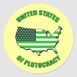 Estados Unidos de la plutocracia Pegatina Redonda