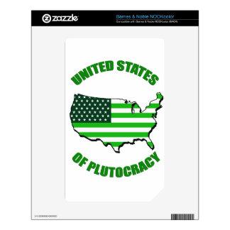 Estados Unidos de la plutocracia Calcomanía Para NOOK Color