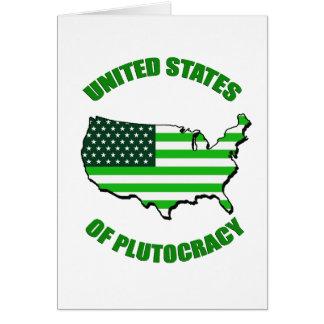 Estados Unidos de la plutocracia Tarjeta De Felicitación