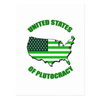 Estados Unidos de la plutocracia Tarjeta Postal