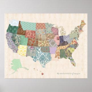 Estados Unidos elegantes lamentables trazan - arte Poster
