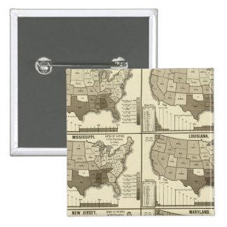 Estados Unidos litografiaron los mapas 2 Pin Cuadrado