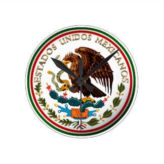 Estados Unidos Mexicanos (Eagle from Mexican Flag) Round Clock