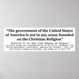 Estados Unidos no fundados en la religión cristian Póster