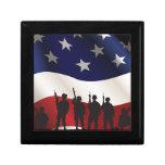 Estados Unidos, patriota, bandera y militares Caja De Recuerdo