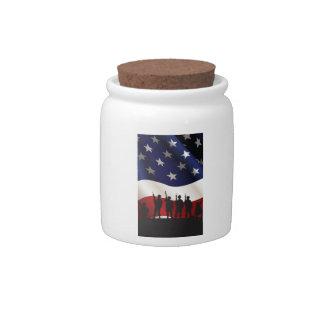 Estados Unidos, patriota, bandera y militares Jarras Para Caramelos