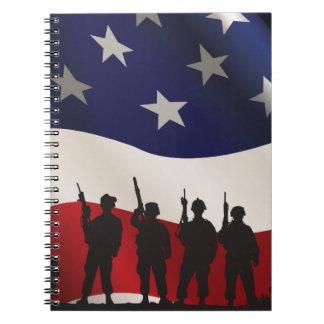 Estados Unidos, patriota, bandera y militares Libretas Espirales