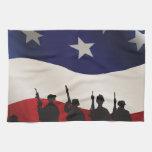 Estados Unidos, patriota, bandera y militares Toallas De Cocina