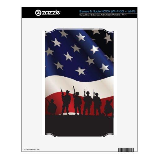 Estados Unidos, patriota, bandera y militares Calcomanía Para El NOOK