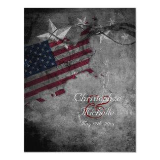 """Estados Unidos patrióticos señalan por medio de Invitación 4.25"""" X 5.5"""""""