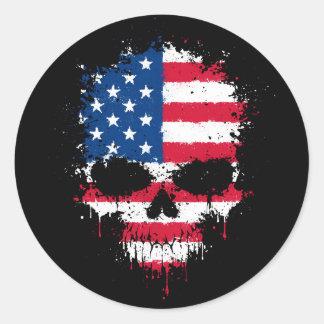 Estados Unidos señalan el cráneo de la salpicadura Pegatina Redonda