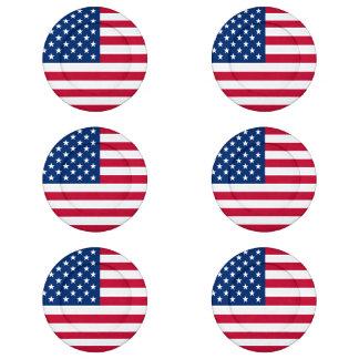 Estados Unidos señalan por medio de una bandera Paquete Pequeño De Tapa Botones