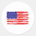 Estados Unidos señalan por medio de una bandera Pegatinas Redondas