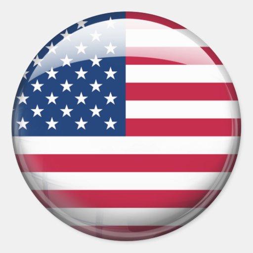 Estados Unidos señalan por medio de una bandera Pegatina Redonda