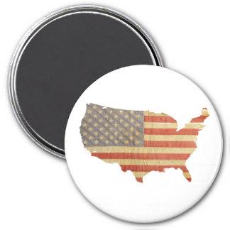 Estados Unidos señalan por medio de una bandera y Imán Redondo 7 Cm