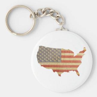 Estados Unidos señalan por medio de una bandera y Llavero Redondo Tipo Pin