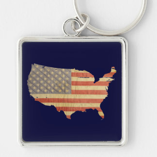 Estados Unidos señalan por medio de una bandera y Llavero Cuadrado Plateado
