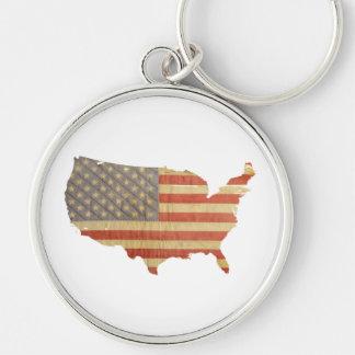 Estados Unidos señalan por medio de una bandera y Llavero Redondo Plateado