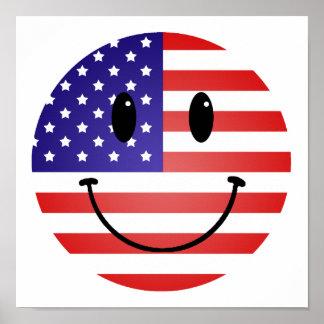 Estados Unidos señalan smiley por medio de una ban Póster