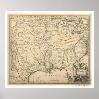 Estados Unidos tempranos trazan por Senex 1721 Póster