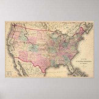 Estados Unidos trazan con la ruta de Pony Express Póster