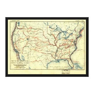 Estados Unidos trazan las rutas 1501 a 1844 del Impresión En Lienzo Estirada