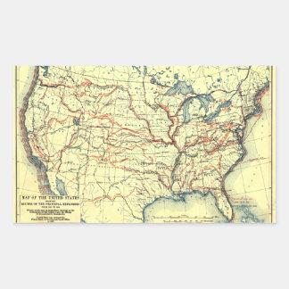Estados Unidos trazan las rutas 1501 a 1844 del Pegatina Rectangular