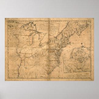 Estados Unidos trazan según el tratado de París Póster