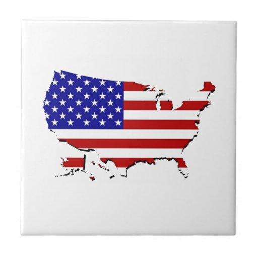 Estados Unidos trazan y la bandera de las Estrella Teja Cerámica