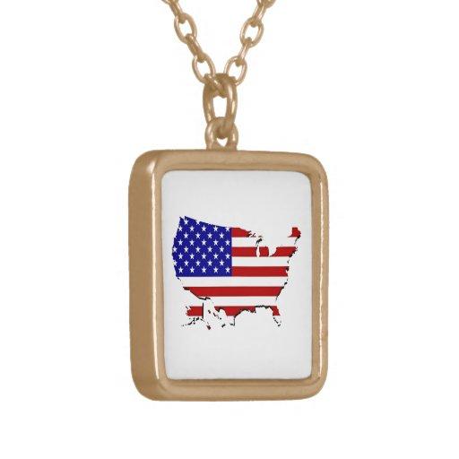 Estados Unidos trazan y la bandera de las Estrella Collar