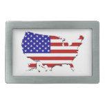 Estados Unidos trazan y la bandera de las Estrella Hebilla Cinturón Rectangular