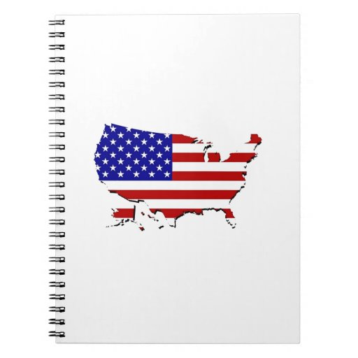 Estados Unidos trazan y la bandera de las Estrella Cuaderno