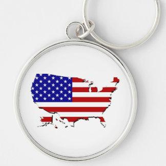 Estados Unidos trazan y la bandera de las Estrella Llaveros Personalizados