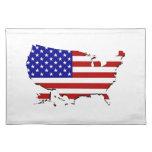 Estados Unidos trazan y la bandera de las Estrella Manteles