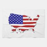 Estados Unidos trazan y la bandera de las Estrella Toalla De Cocina