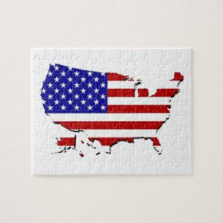 Estados Unidos trazan y la bandera de las Estrella Rompecabeza