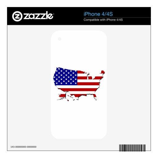 Estados Unidos trazan y la bandera de las Estrella iPhone 4S Calcomanía