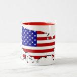 Estados Unidos trazan y la bandera de las Estrella Tazas De Café