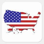 Estados Unidos trazan y la bandera de las Calcomanía Cuadradas Personalizada