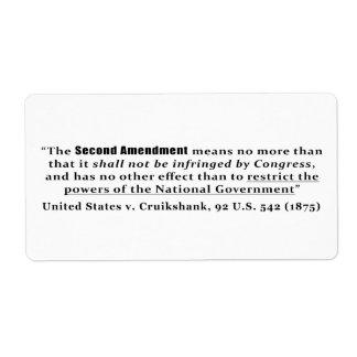 Estados Unidos v. Cruikshank, los 92 E.E.U.U. 542 Etiquetas De Envío
