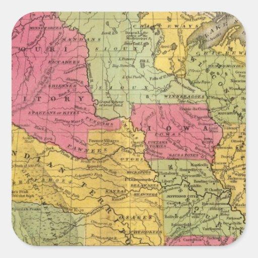 Estados Unidos y México Calcomanías Cuadradases