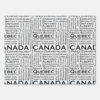 Estados y ciudades canadienses letreros