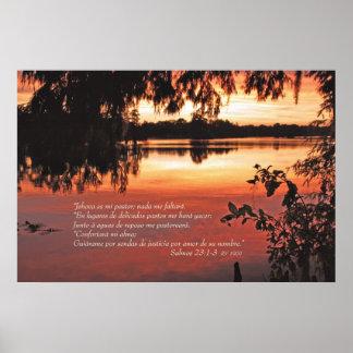 Estafa 1-3 Puesta de Salmos 23 del Sol Póster